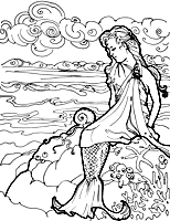 Small Picture Mermaid On A Rock Coloring Pages Coloring Pages