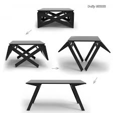 the mk1 transforming coffee table can convert into a dining table in seconds