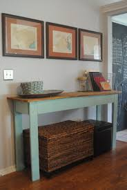 narrow entry table. Rectangle Soft Blue Wooden Entryway Table With Brown Top And Four Legs On The Floor Narrow Entry A