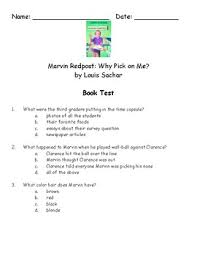 Survey Test Book Answers Marvin Redpost Why Pick On Me By Louis Sachar Book Test And Answer Key