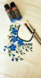 Free Painting Designs Free Hand Fabric Design Acrylic Painting Neck Pattern For