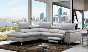 viola premium leather sectional sofa in light grey  free shipping