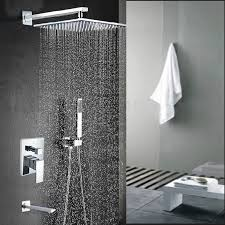 malachite wall mount 12 inch rainfall shower head with hand held shower tub spout