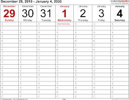 Printable 2020 Vertical Weekly Calendar Bootscootinmusic Com