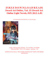 Read Light Novels Online Free F R E E D O W N L O A D R E A D Sword Art Online Vol 15