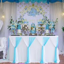 Light Blue Table Skirt Baby Blue Tulle Table Skirt 6ft Tutu Table Skirt Tulle Tablecloth For Baby Shower Boy Wedding Birthday Party Decorations