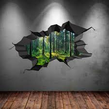 2017 3d wall art intended for full colour woods forest trees jungle ed 3d wall art