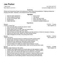 How To Write A Resume For Restaurant Job Server Skills Examples