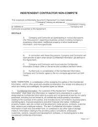 Nda Non Compete Template Independent Contractor Non Compete Agreement Template