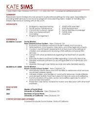 social work resume example
