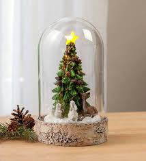 Lighted Glass Cloche Lighted Woodland Cloche Holiday Decor Plowhearth