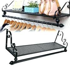 wall mounted clothes rail. Hanging Clothes Rack Wall Mounted Hanger With Regard To Rail P