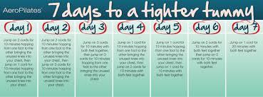 Aero Pilates Exercise Wall Chart Aeropilates 7 Days To A Tighter Tummy Workout Calendar