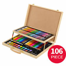 106 pieces art set painting set for kids children drawing color pens crayons with wood case