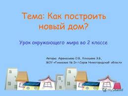 Презентация на тему Окружающий мир класс Строительство и  Урок окружающего мира во 2 классе Авторы Афанасьева