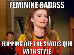 Janeway long hair Captain Star Trek feminine badass girl woman ... via Relatably.com