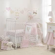 lambs ivy baby love 4 piece crib bedding set pink gold