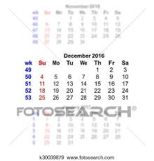 Clip Art Of December 2016 Calendar Week Starts On Sunday K30039879