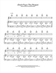 don t fear the reaper sheet music dont fear the reaper sheet music by blue oyster cult piano vocal