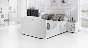 Bed With Tv Built In White Leather Tv Bed Leather Kingsize Tv Beds The Azure