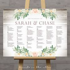 Large Floral Wedding Seating Chart