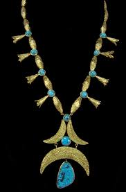 early 1970s 14k gold necklace with custom beads squash blossoms and spiderweb turquoise stone