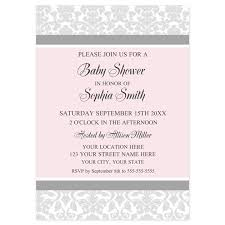 Pink Grey Damask Baby Shower Invites Invitations By Dreamingmindcards
