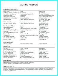 Theatre Resume Templates Interesting Performer Resume Template Sample Dance Audition Resume Theatre