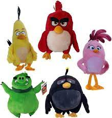 Rovio Angry Birds Complete Set 5 Plush Red Chuck Bomb Pig Stella 20 cm :  Amazon.de