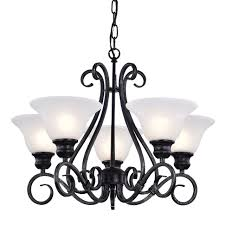 5 light classic black iron dining living room hanging chandelier ceiling fixture