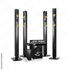 Home Theater Receiver and Speaker System Isolated. Side View 3D Cinema  Entertainment System. Data Surround Speakers. Acoustic Audio Stereo Sound  9.1 Channel Output. Household Electrical Equipment Stock Photo