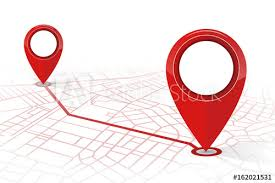 Red Checking Gps Navigator Pin Checking Point To Point Red Color On White
