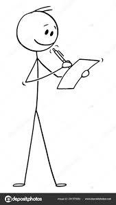 Vector Cartoon of Smiling Man or Businessman Writing on Sheet of Paper with  Ballpoint Pen ⬇ Vector Image by © ursus@zdeneksasek.com   Vector Stock  291575950
