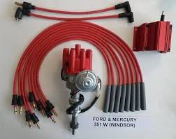 ford 351w windsor blue small cap hei distributor blue coil ford 351w windsor red small female hei distributor 50k coil spark plug wires