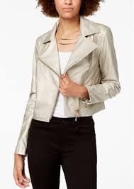 armani exchange metallic faux leather biker jacket