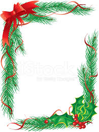 Pine Garlands And Holly Christmas Ribbon Frame Vertical Stock Vector