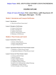 course outline soil and water conservation engineering erosion  course outline soil and water conservation engineering erosion water resources