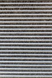 metal background of the stripped texture of gray garage door stock photo