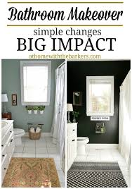 bathroom makeover with black painted