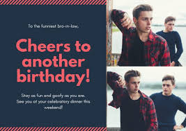 Red Photo Collage Brother In Law Birthday Card Templates By Canva