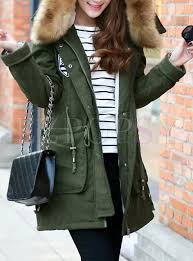hooded winter coats faux fur coat outdoor parka jacket