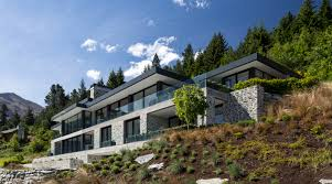 Steep Hillside Home Designs Large House On Difficult Steep Slope Is Partly Dug Trends