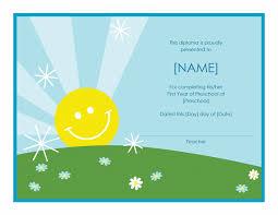 preschool diploma certificate sunshine design office templates preschool diploma certificate sunshine design