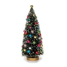 Bottle Brush Christmas Trees: 8.5 inch Green Sisal Tree with Bead Ornaments