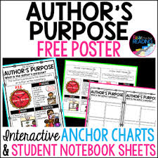 Free Nonfiction Poster Authors Purpose Poster Authors Purpose Anchor Chart