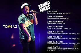 Bruno mars has the most fun anyone has ever had during 'carpool karaoke' and more news. Bruno Mars Upcoming Tour Dates List Of All Bruno Mars Upcoming Concerts For July Aug 2018 Find Out When Bruno Mars Tickets Bruno Mars Tour Concert Tickets