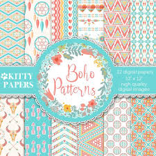 Boho Patterns Delectable Boho Digital Paper Boho Patterns Ethnic Digital Paper Etsy