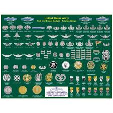 Army Insignia Chart Us Army Badge Poster