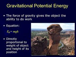 7 gravitational potential energy the force of gravity gives the object the ability to do work equation e p mgh directly proportional to weight of object