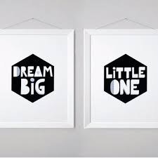 wall and wonder wall prints dream big little one set of two black and white  on dream big little one wall art with dream big little one set of two black and white nursery wall art